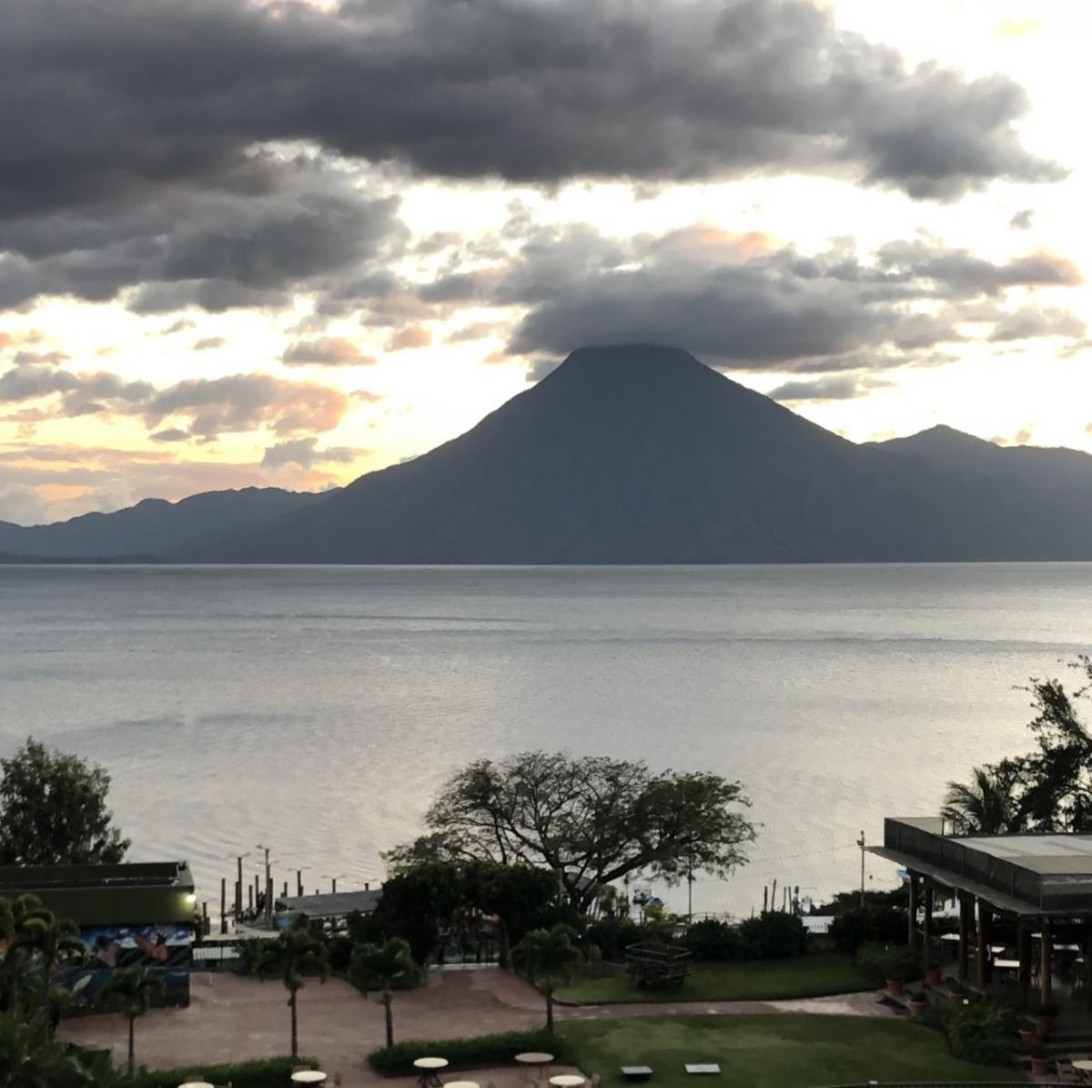 View of Lake Atitlan from hotel balcony in Panajachel