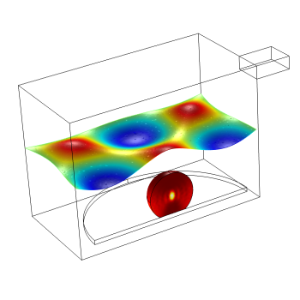 COMSOL simulation of a potato being cooked in a microwave