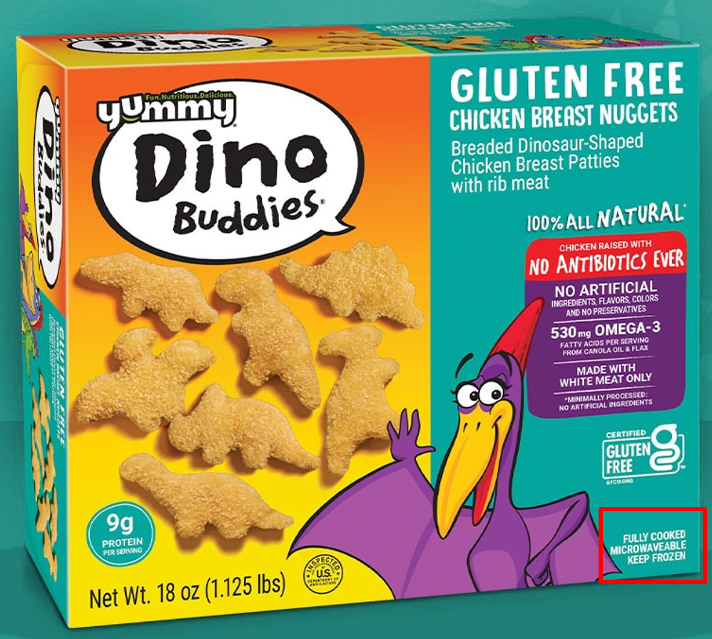 Yummy Dino Buddies box - fully cooked label