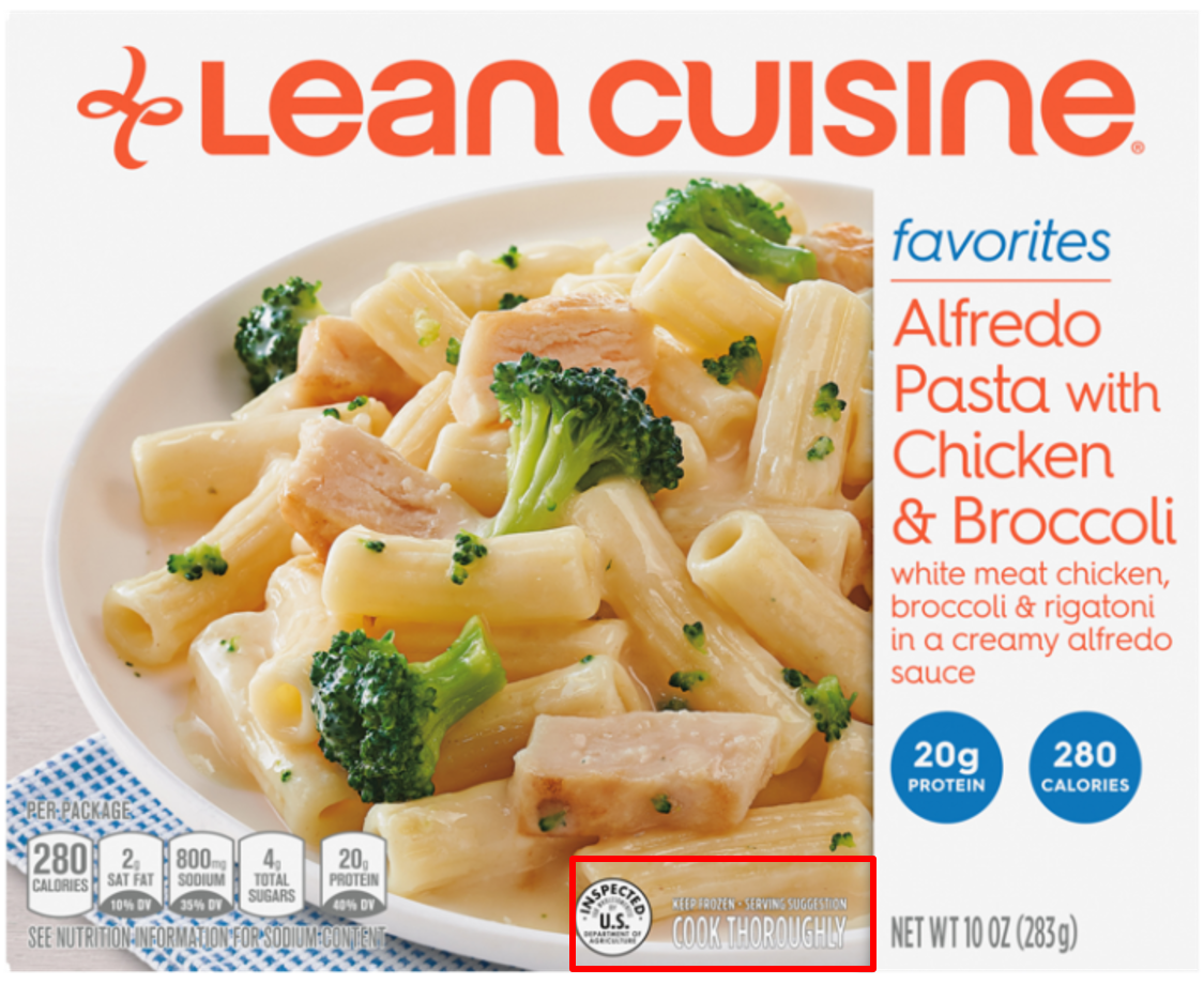 Lean Cuisine box - cook thoroughly label