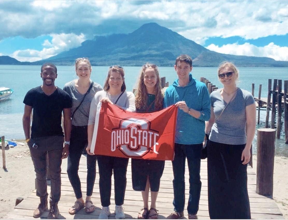 Ohio State University graduate students with Dr. Kowalcyk at Santa Catarina Palopó with Lake Atitlán in the background