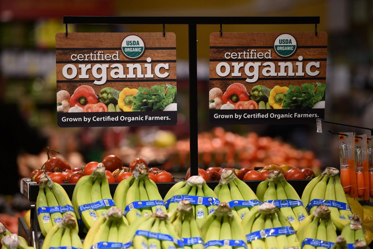 Produce with organic sign