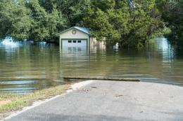 Flooding road goes underwater and house completely flooded